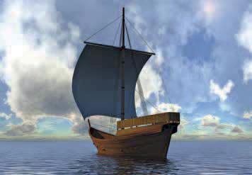 Reconstitution hypothétique du navire sous voile, site archéologique «l'Aber Wrac'h 1», XVe siècle © P. Lotodé