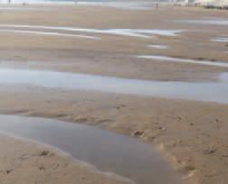 Chenaux sur la Grande Plage creusés par les courants d'arrachement (photo VIE)