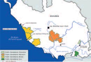 Les 4 aires viticoles des Fiefs vendéens et les vignes de la Bégaudière (cartographie VIE d'après source Wikipédia